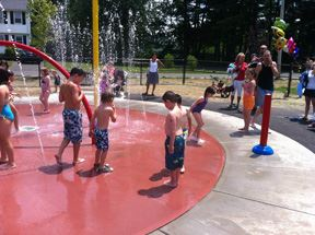 Children at spray park