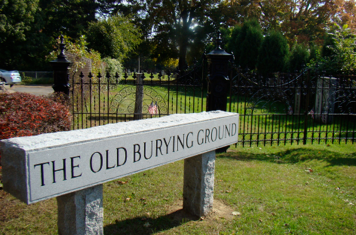Granite sign reads Old Burying Ground